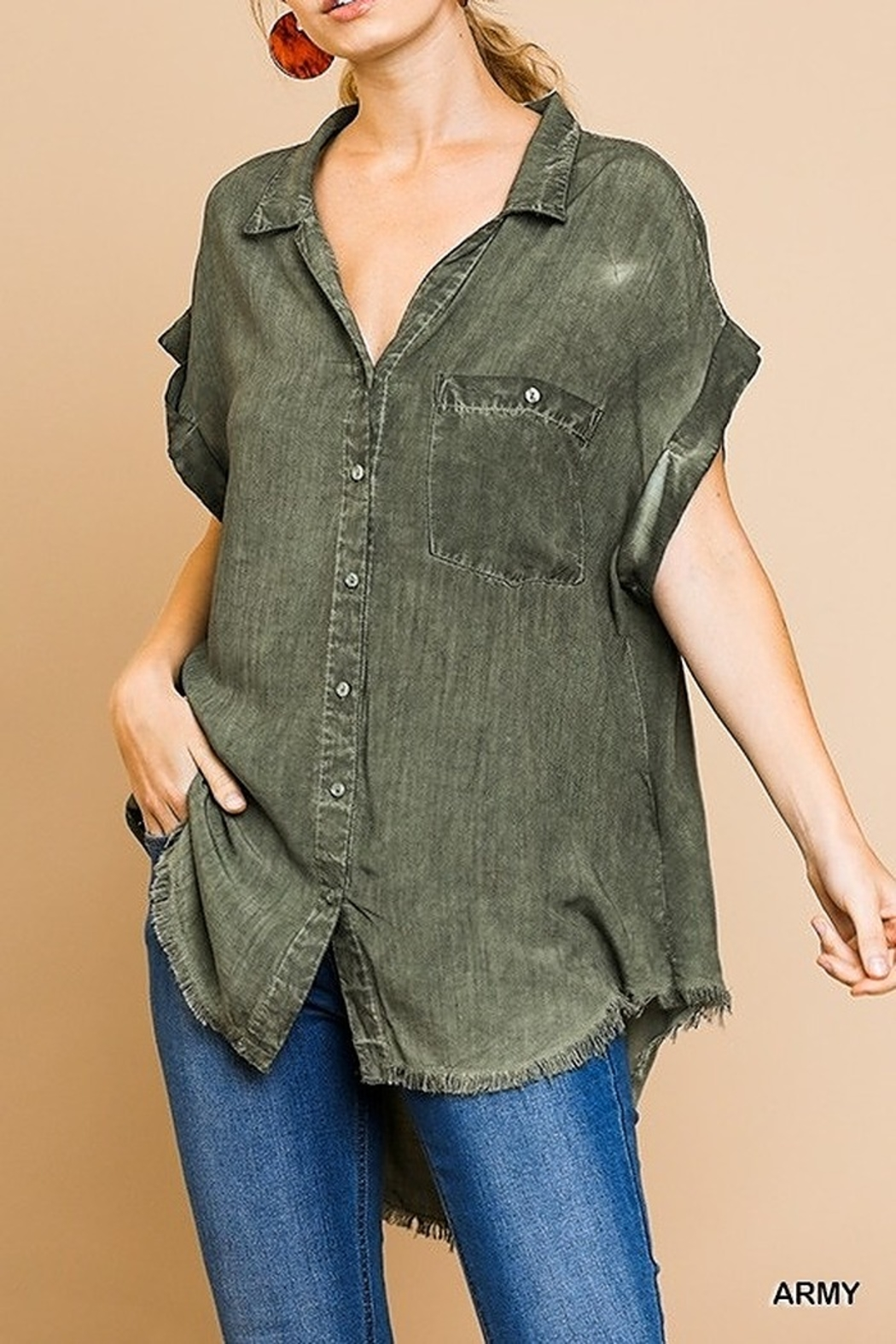 Umgee  Washed Button Up Short Sleeve Top with Frayed Hemline - Main Image