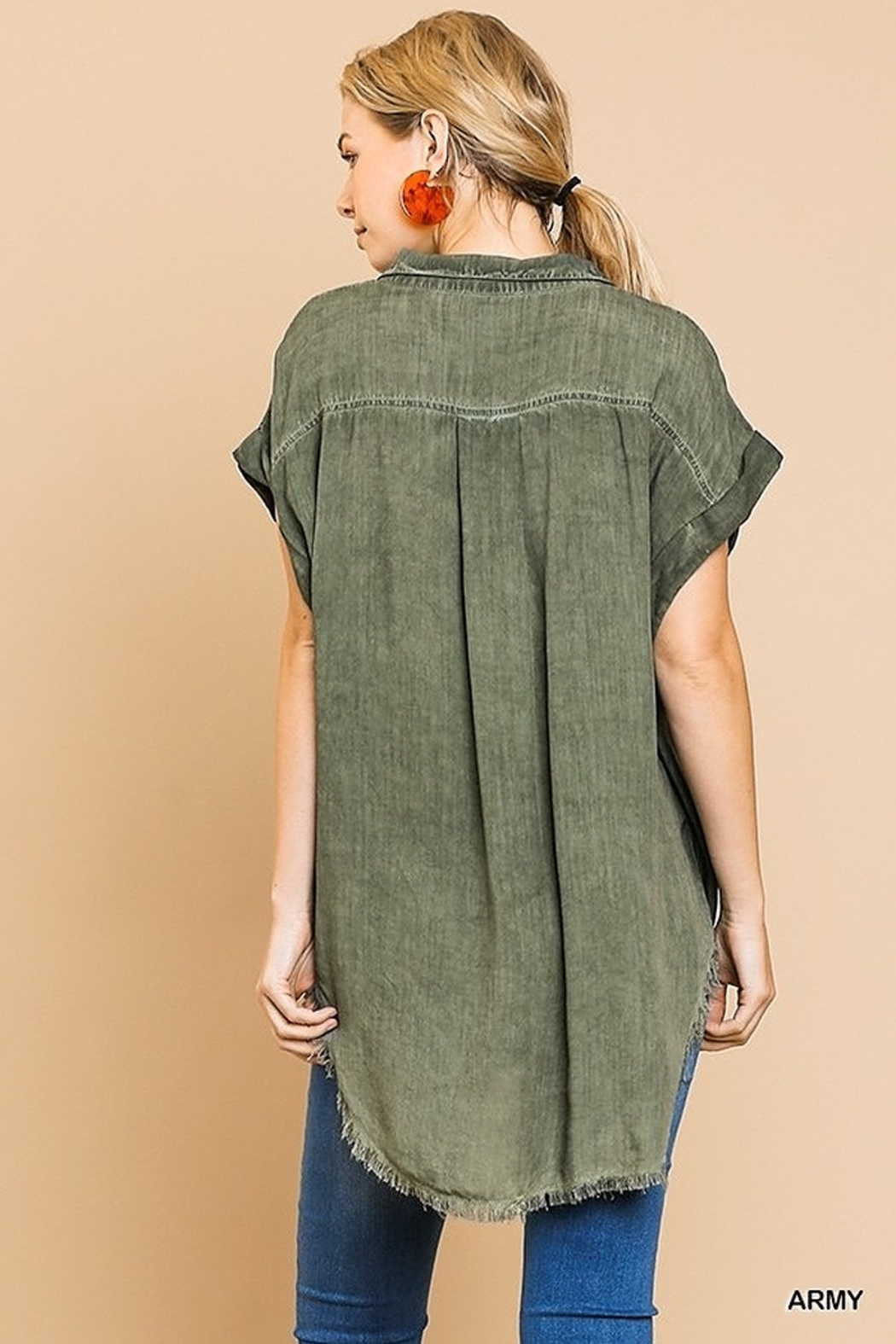 Umgee  Washed Button Up Short Sleeve Top with Frayed Hemline - Back Cropped Image