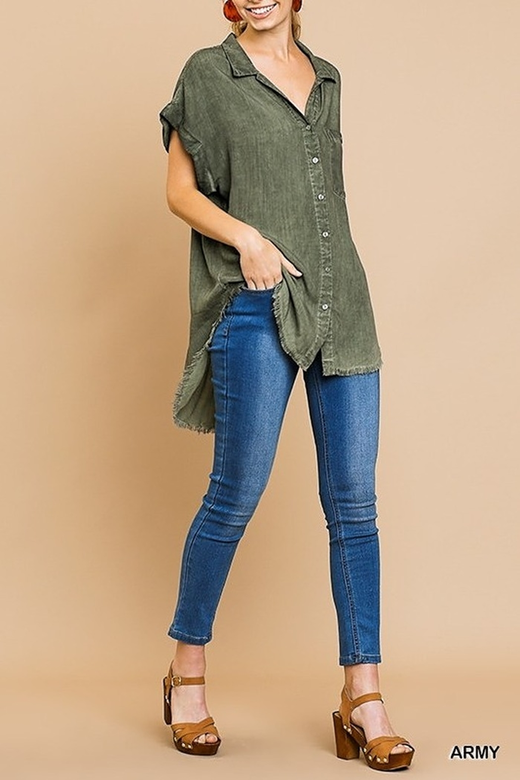 Umgee  Washed Button Up Short Sleeve Top with Frayed Hemline - Front Full Image