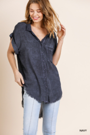 Umgee  Washed Button Up Short Sleeve Top with Frayed Hemline - Product Mini Image