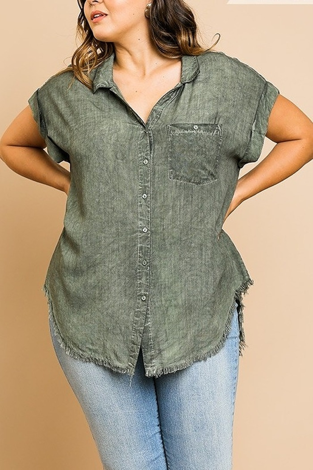 Umgee  Washed Button Up Short Sleeve Top with Frayed Hemline Curvy - Main Image