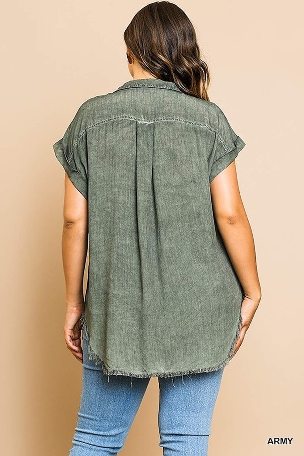 Umgee  Washed Button Up Short Sleeve Top with Frayed Hemline Curvy - Front Full Image