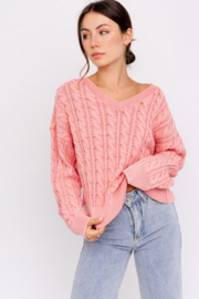 Le Lis Washed Cable Knit Sweater - Product Mini Image