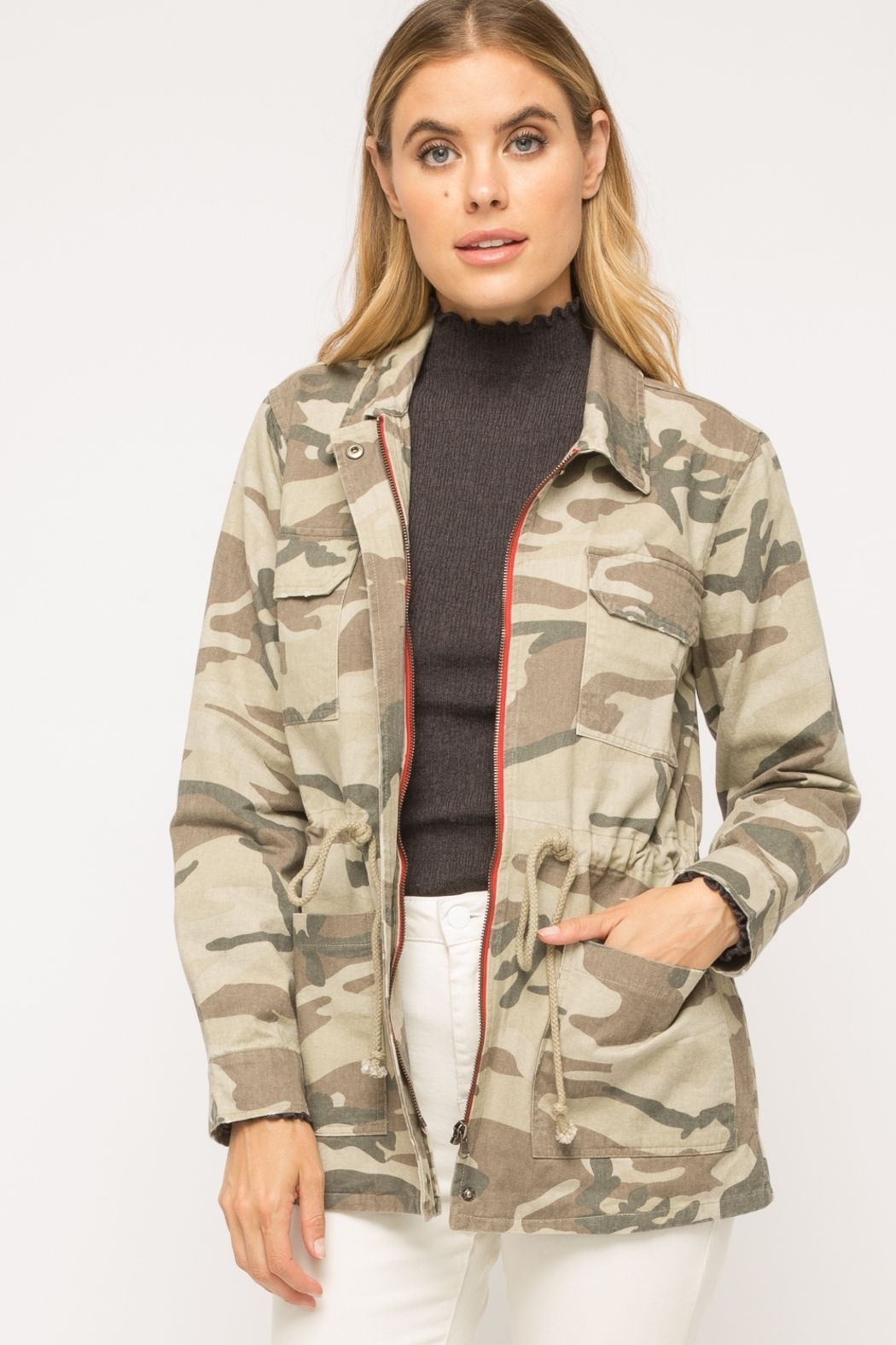 Mystree Washed Camo  Jacket - Main Image