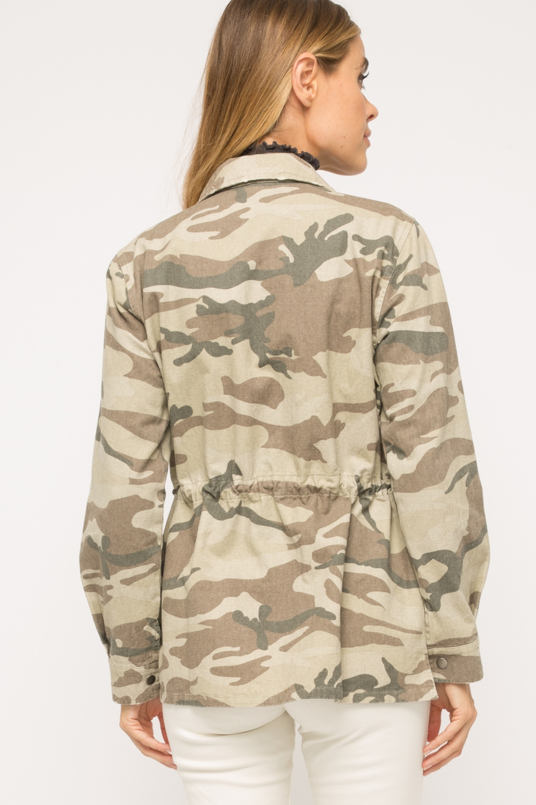 Mystree Washed Camo  Jacket - Side Cropped Image