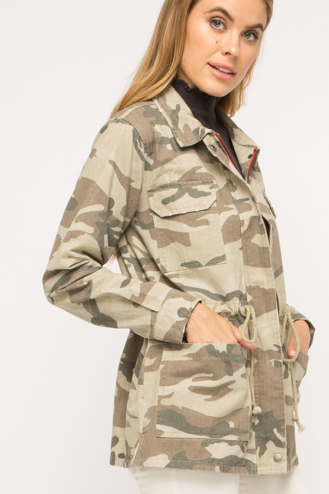 Mystree Washed Camo  Jacket - Front Full Image