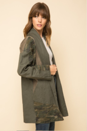 Mystree Washed Camo Patchwork Jacket - Front full body