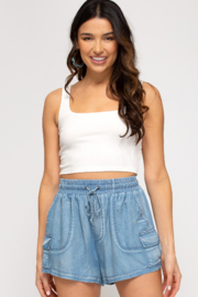 She + Sky Washed Chambray Shorts - Product Mini Image