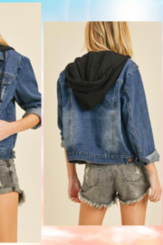 Doe & Rae Washed Denim Jacket With Hoodie - Front full body