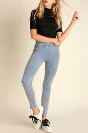 Umgee USA Washed-Denim Moto Jeggings - Product Mini Image
