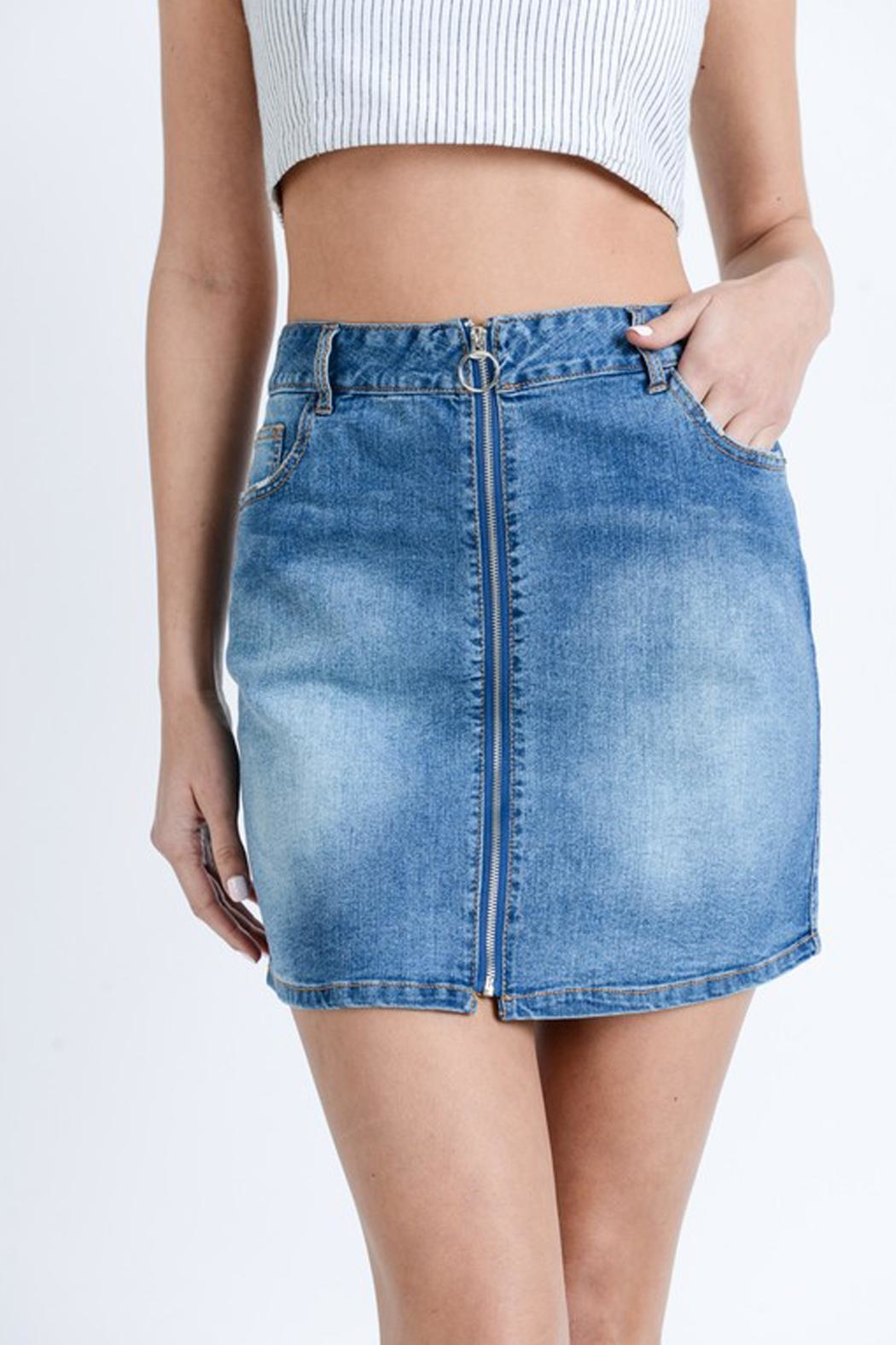 Love Tree Washed Denim Skirt - Front Cropped Image