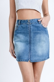 Love Tree Washed Denim Skirt - Front cropped