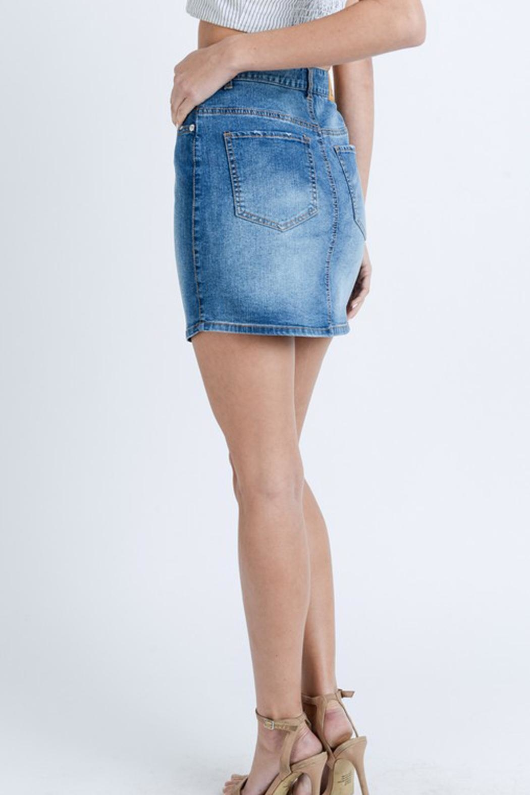 Love Tree Washed Denim Skirt - Front Full Image