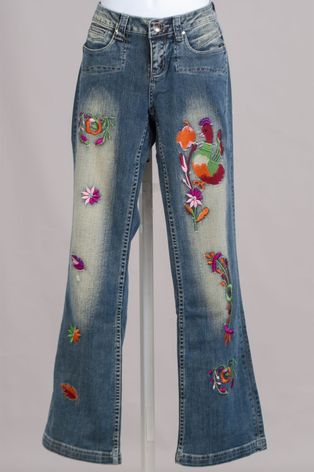 Immediate Resource/sTyle Ny Washed Embroidered Jeans - Main Image