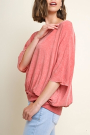 Umgee USA Washed Gathered Top - Front full body