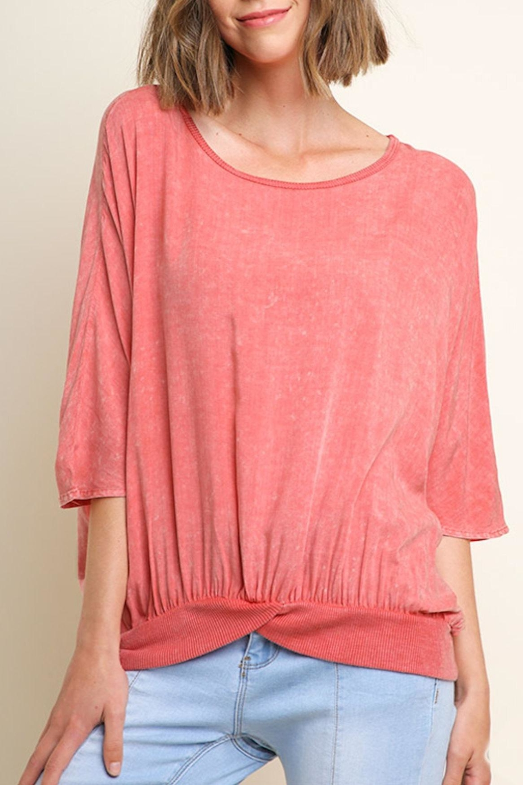 Umgee USA Washed Gathered Top - Front Cropped Image