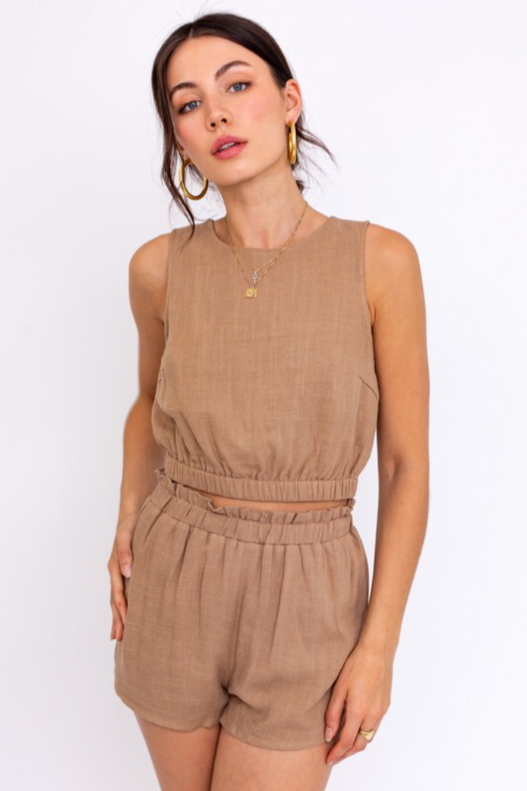 Le Lis Washed Linen Cropped Top - Main Image