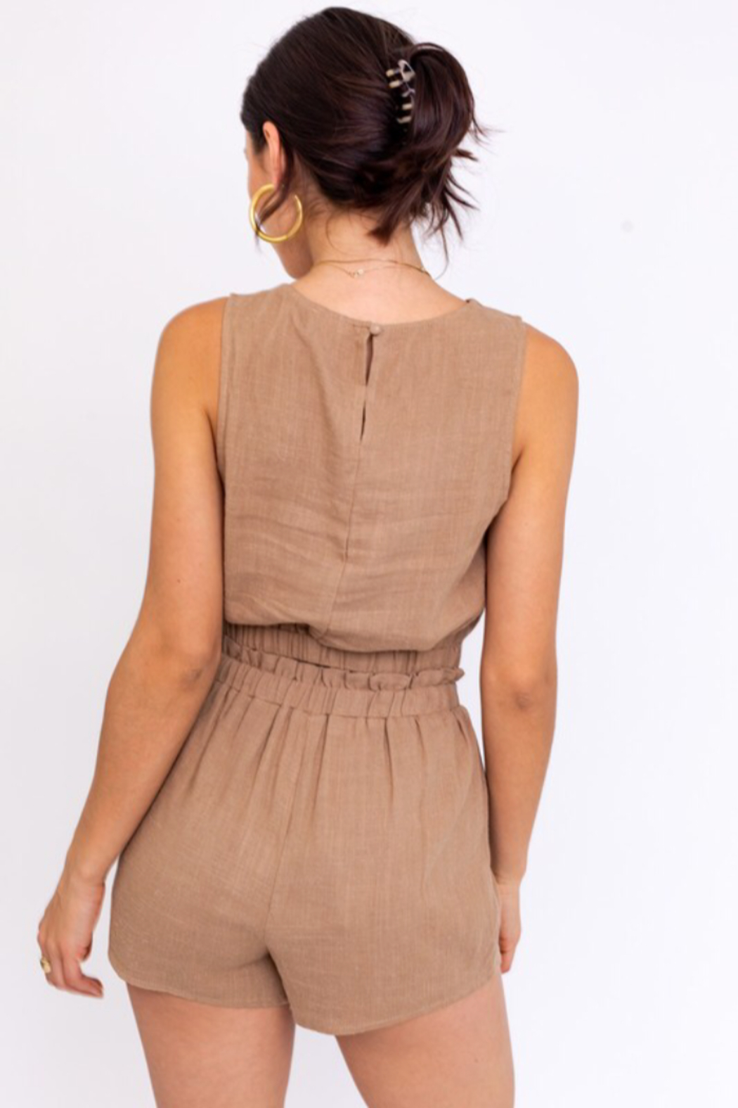 Le Lis Washed Linen Cropped Top - Front Full Image