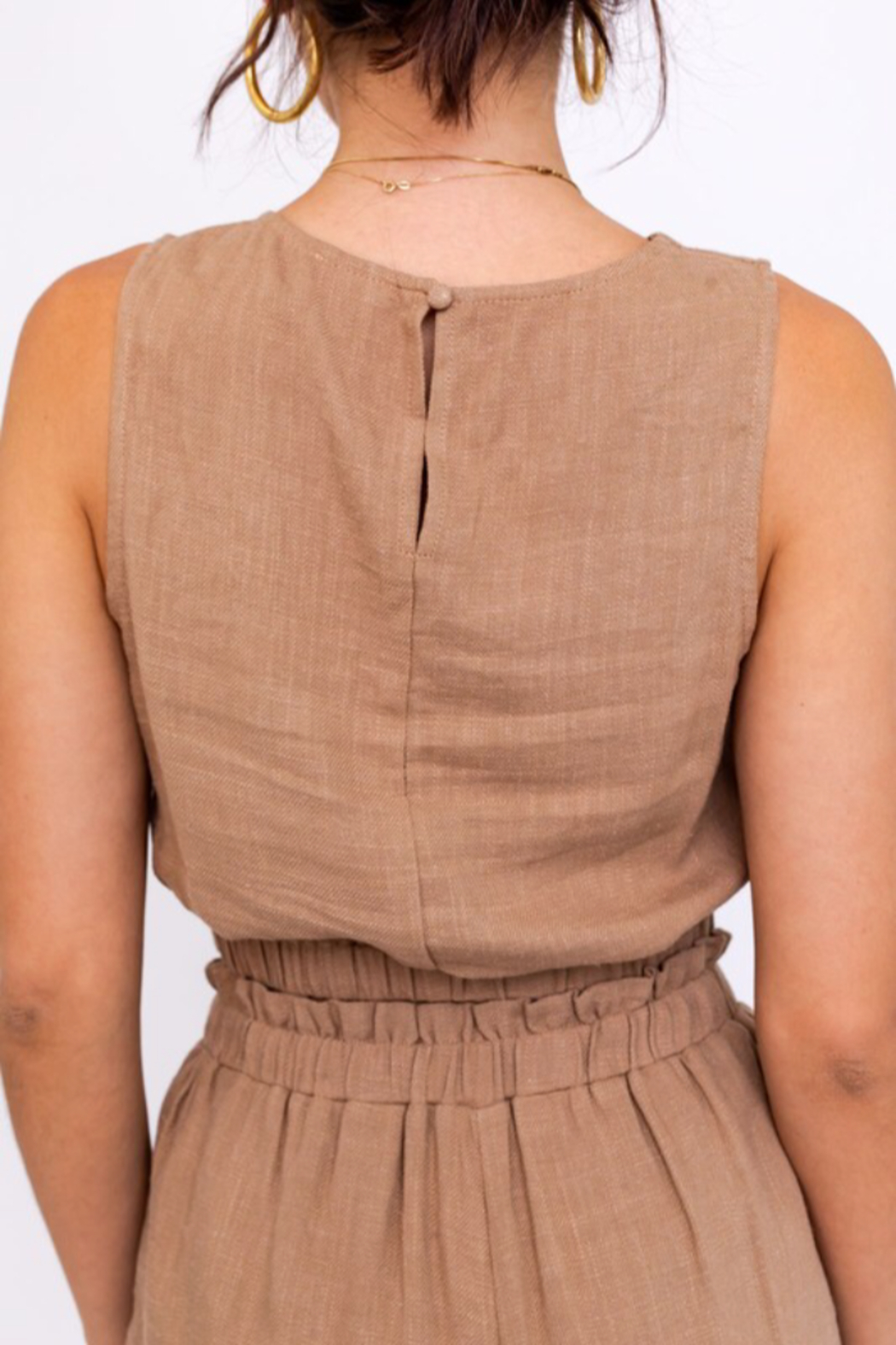 Le Lis Washed Linen Cropped Top - Back Cropped Image