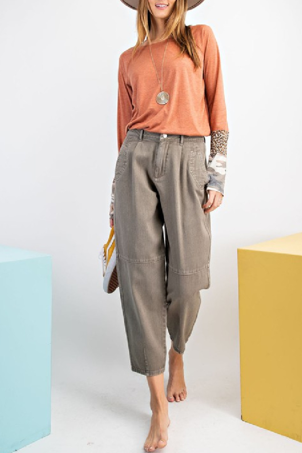 easel  Washed Mom Twill Pant - Front Cropped Image