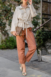 easel  Washed Mom Twill Pant - Product Mini Image