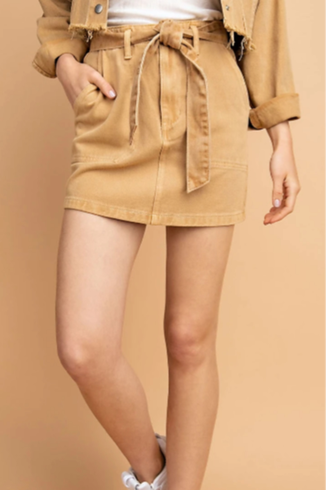 Le Lis Washed-Out Denim Skirt - Main Image