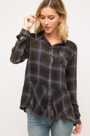 Mystree Washed Plaid Ruffle Bottom - Front cropped