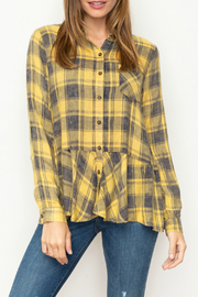 Mystree Washed plaid shirt with ruffled hem - Product Mini Image