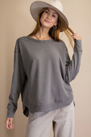 easel  Washed Terry Knit Pullover - Product Mini Image