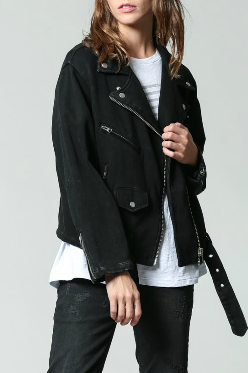 FATE  Washed Terry Moto Jacket - Main Image