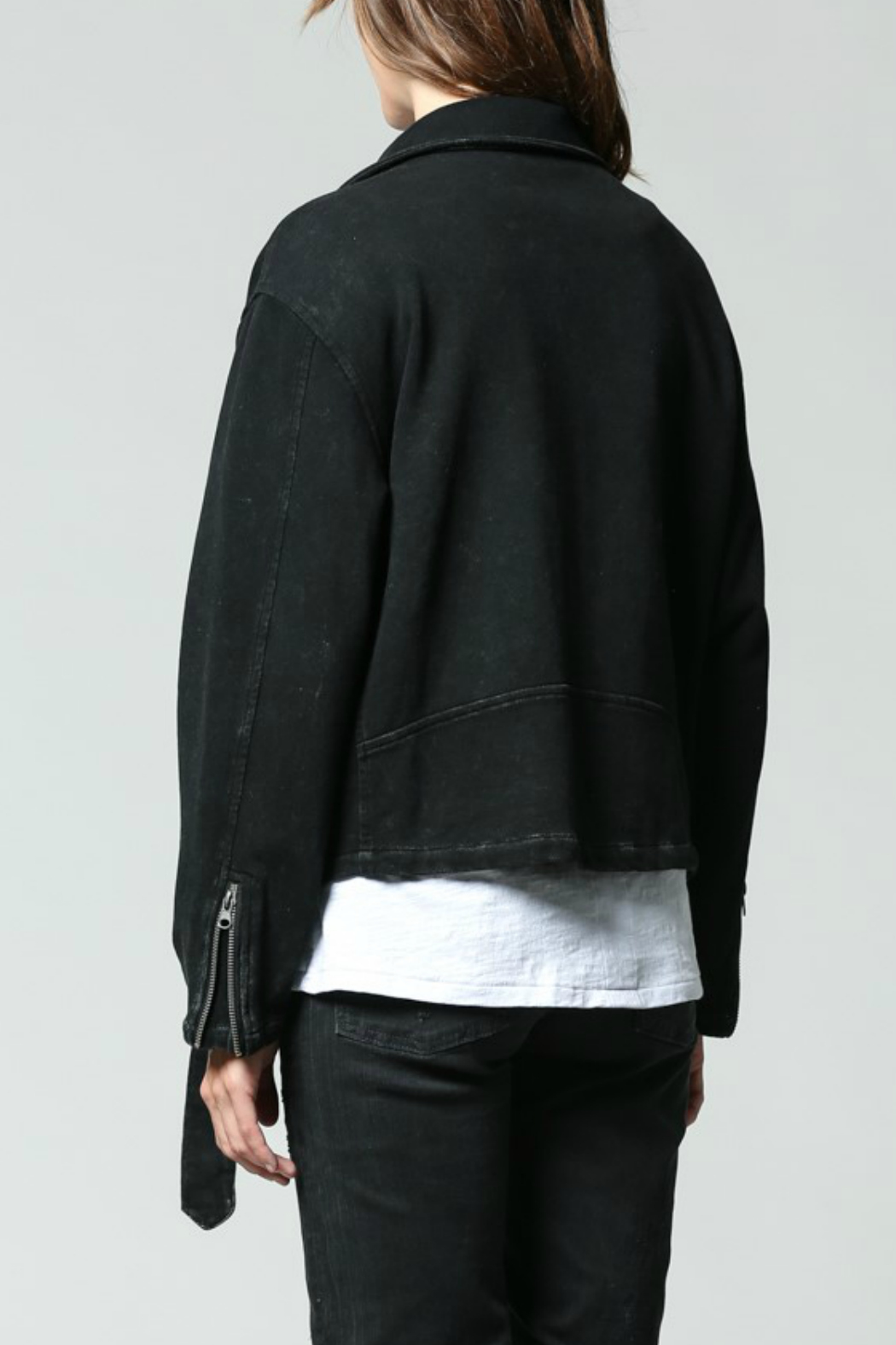 FATE  Washed Terry Moto Jacket - Side Cropped Image