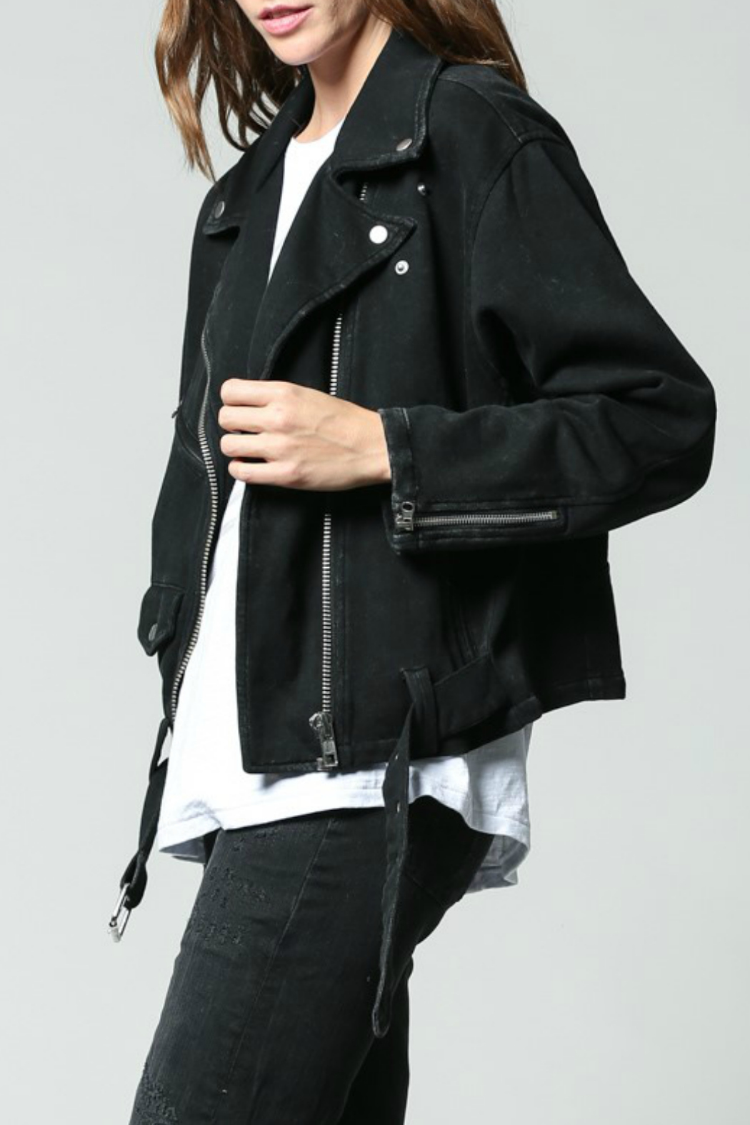 FATE  Washed Terry Moto Jacket - Front Full Image