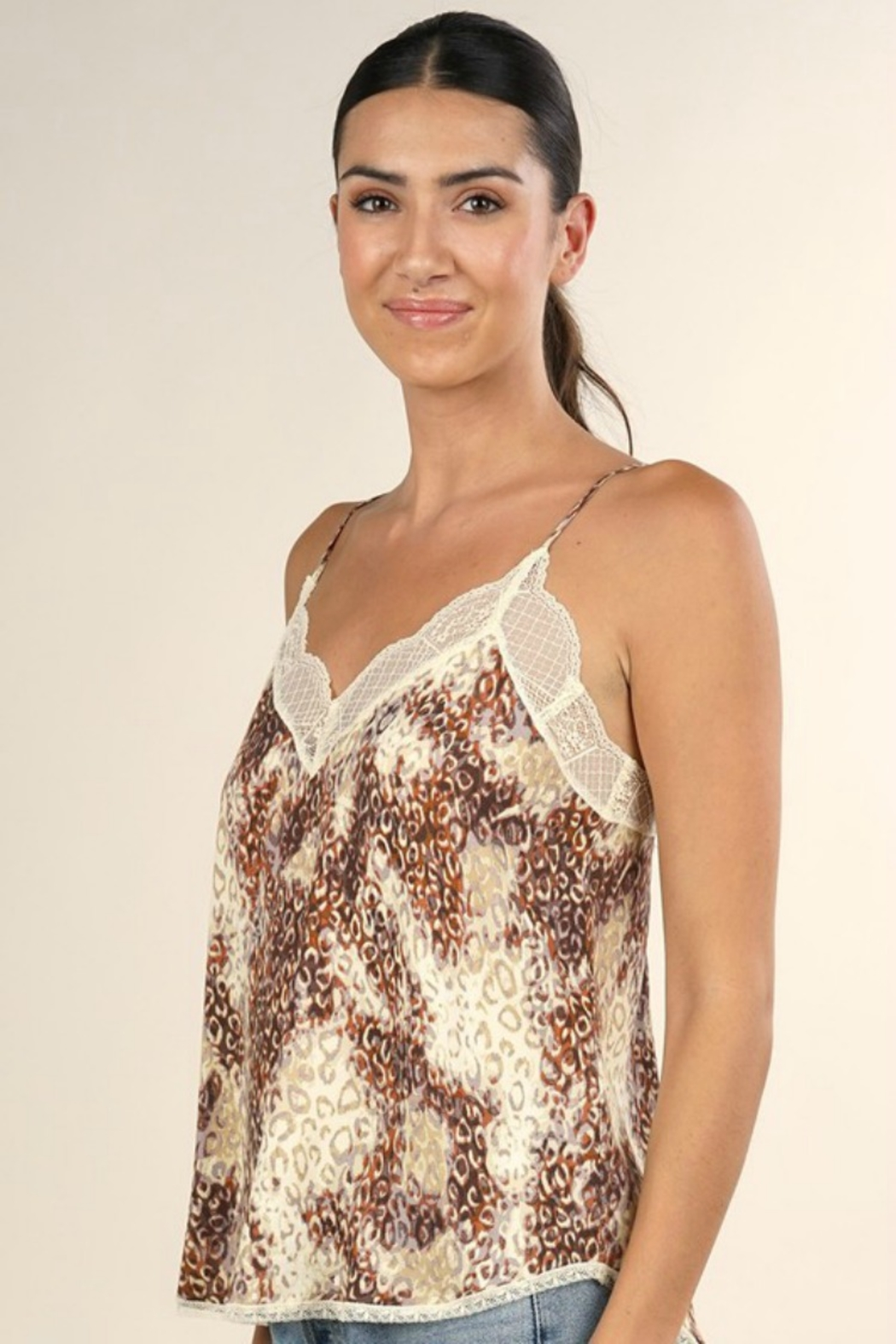 Lovestitch WATERCOLOR ANIMAL PRINT CAMI - Front Full Image