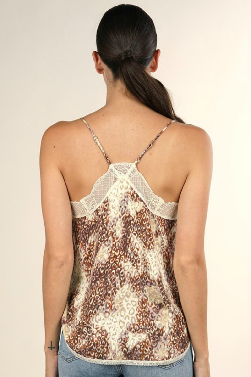 Lovestitch WATERCOLOR ANIMAL PRINT CAMI - Back Cropped Image