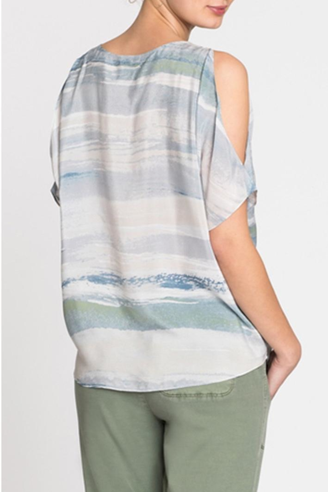 Nic + Zoe Watercolor Cold-Shoulder Top - Front Full Image