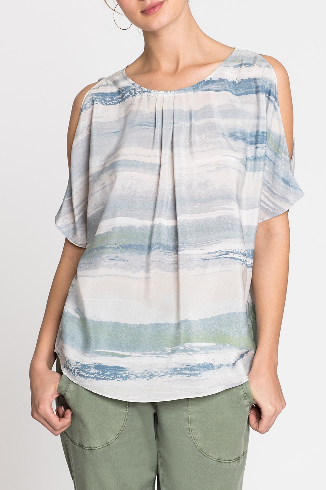 Nic + Zoe Watercolor Cold-Shoulder Top - Front Cropped Image