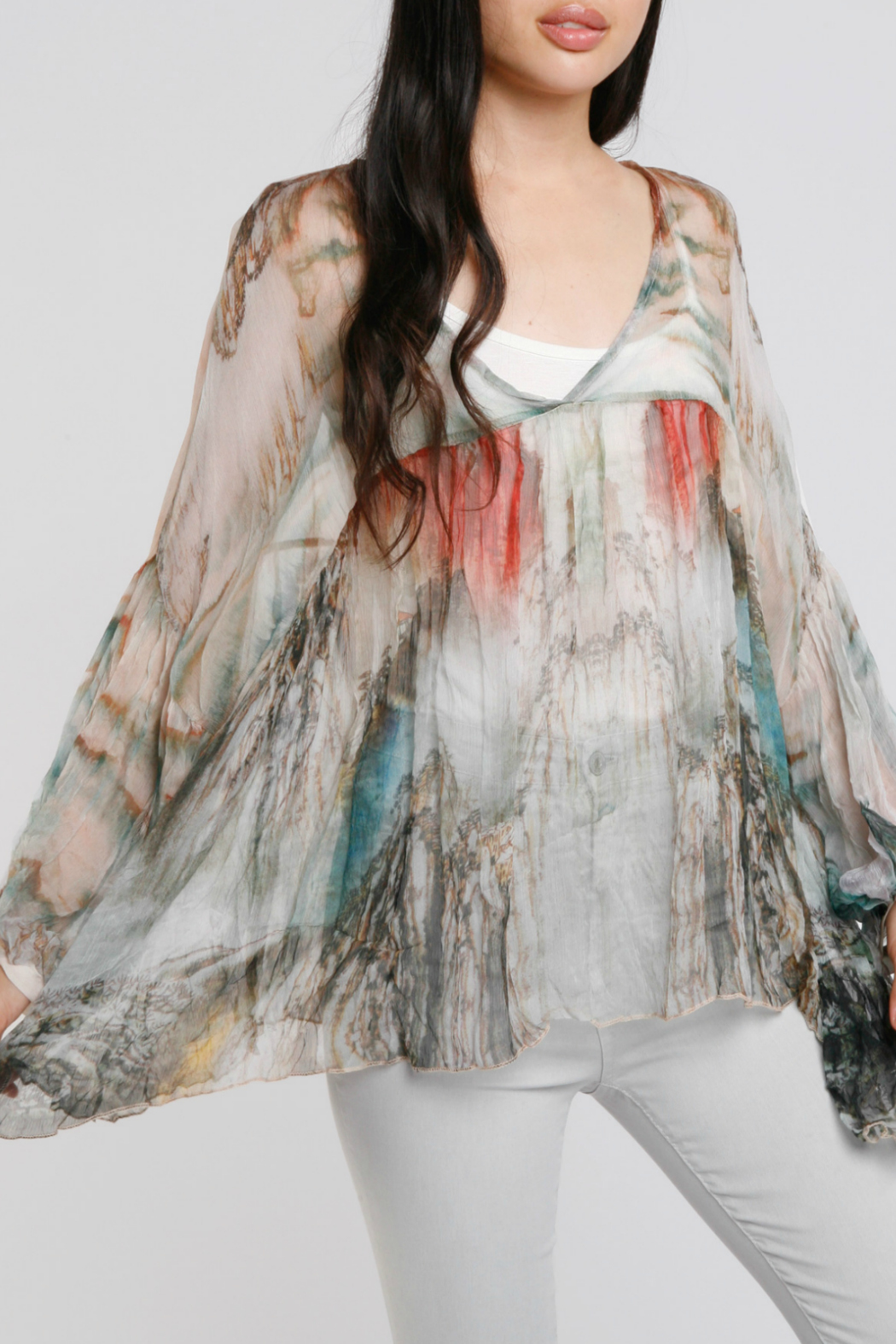 Baci Watercolor Crinkle Silk Blouse - Front Cropped Image
