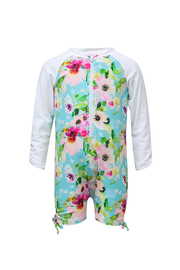 Snapper Rock Watercolor Floral LS Sunsuit - Front cropped
