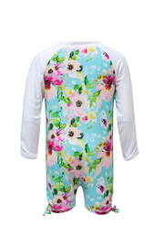 Snapper Rock Watercolor Floral LS Sunsuit - Front full body