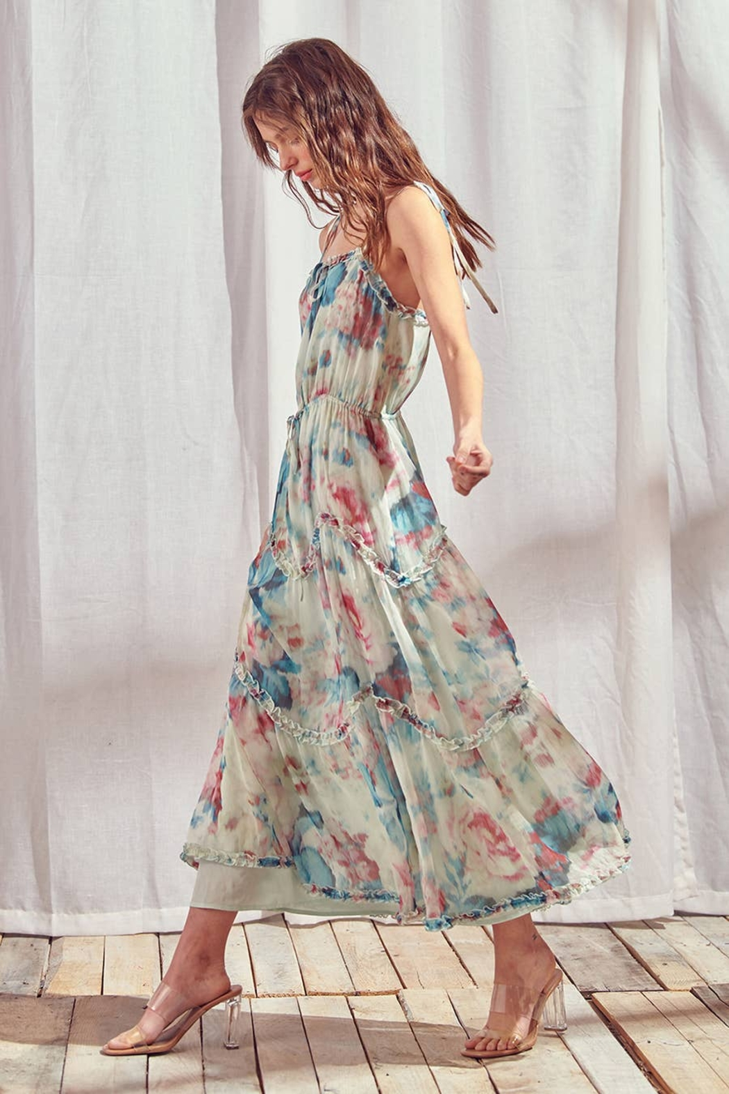 storia Watercolor Floral Maxi Dress - Front Full Image