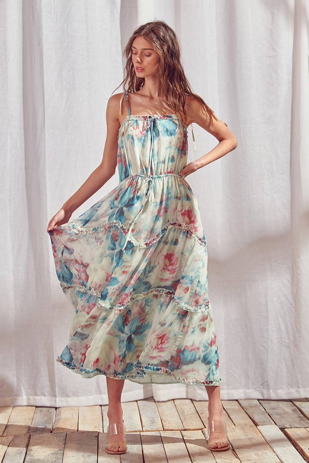 storia Watercolor Floral Maxi Dress - Side Cropped Image