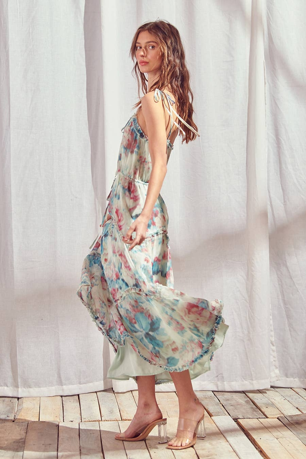 storia Watercolor Floral Maxi Dress - Back Cropped Image