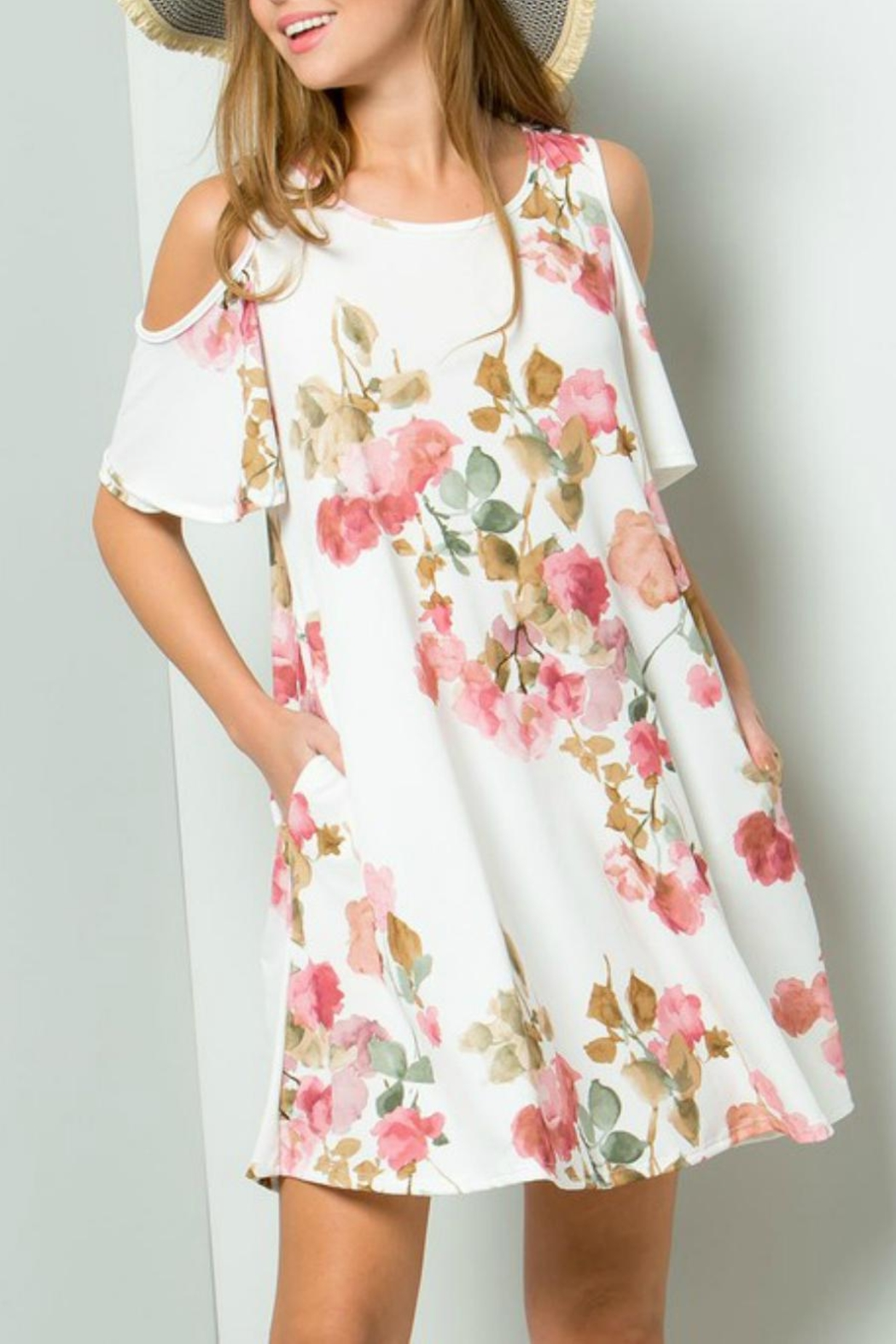 ee:some Watercolor Floral Swing-Dress - Main Image