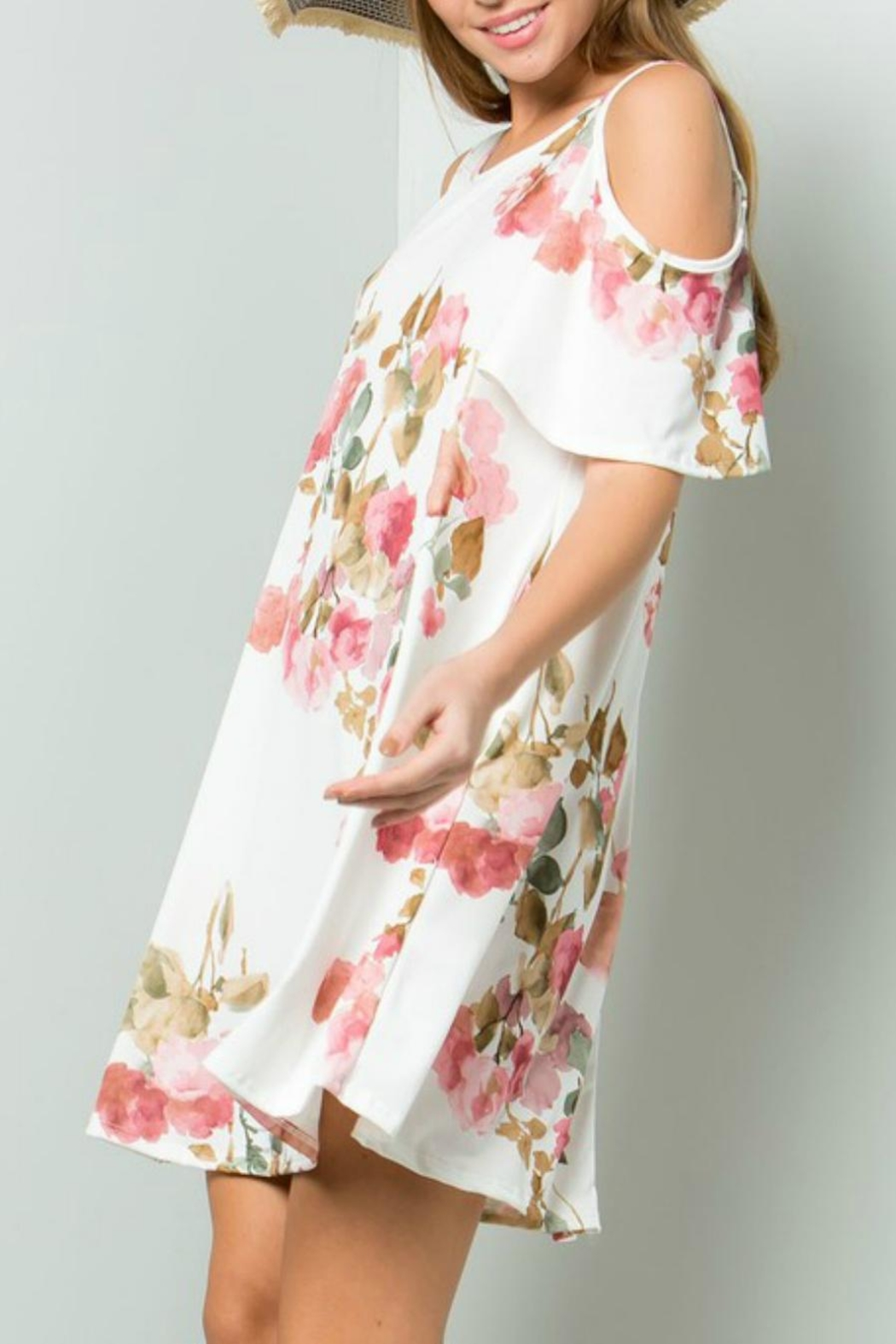 ee:some Watercolor Floral Swing-Dress - Front Full Image