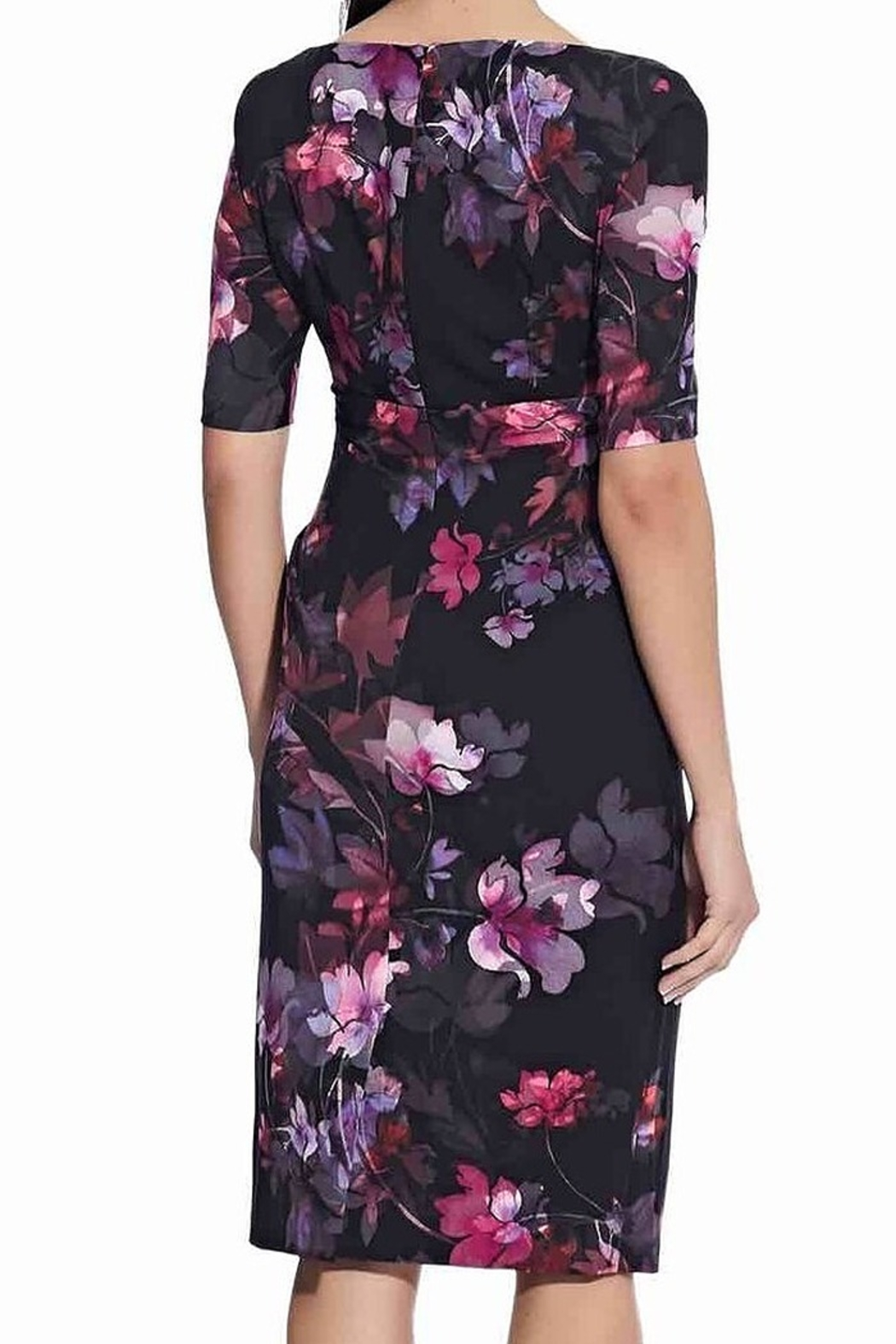 Adrianna Papell Watercolor Lilies Midi Sheath Dress - Side Cropped Image