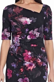 Adrianna Papell Watercolor Lilies Midi Sheath Dress - Front full body