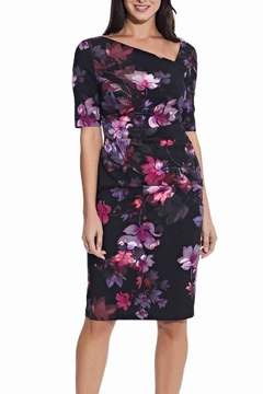 Adrianna Papell Watercolor Lilies Midi Sheath Dress - Product List Image