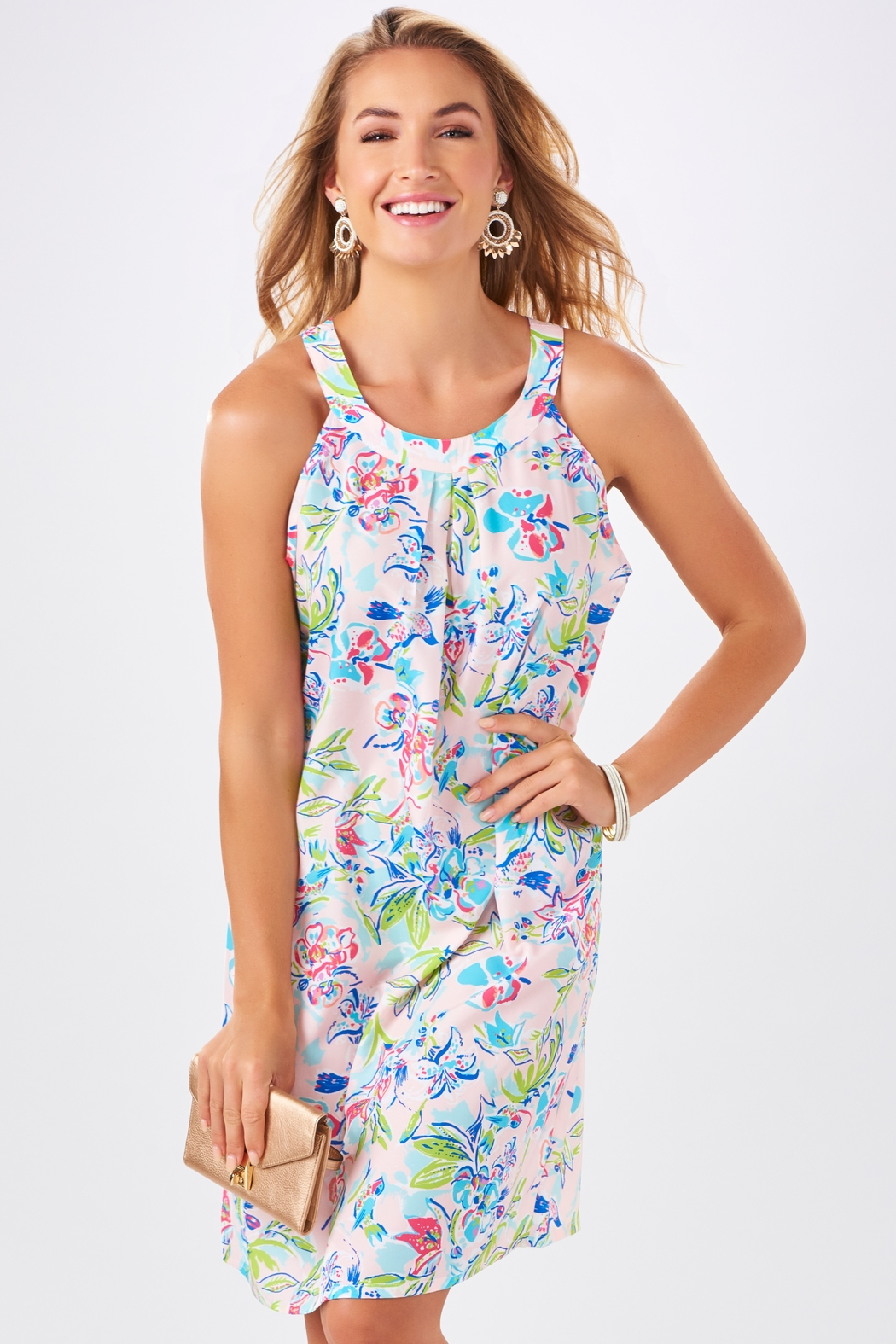 Charlie Paige Watercolor Print Shift Dress - Front Cropped Image