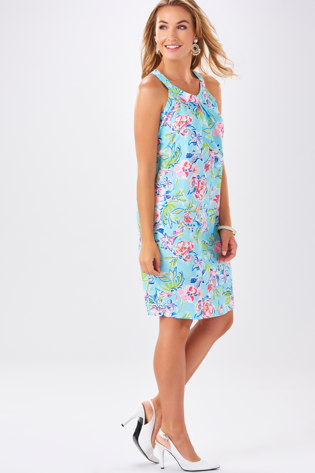 Charlie Paige Watercolor Print Shift Dress - Front Full Image