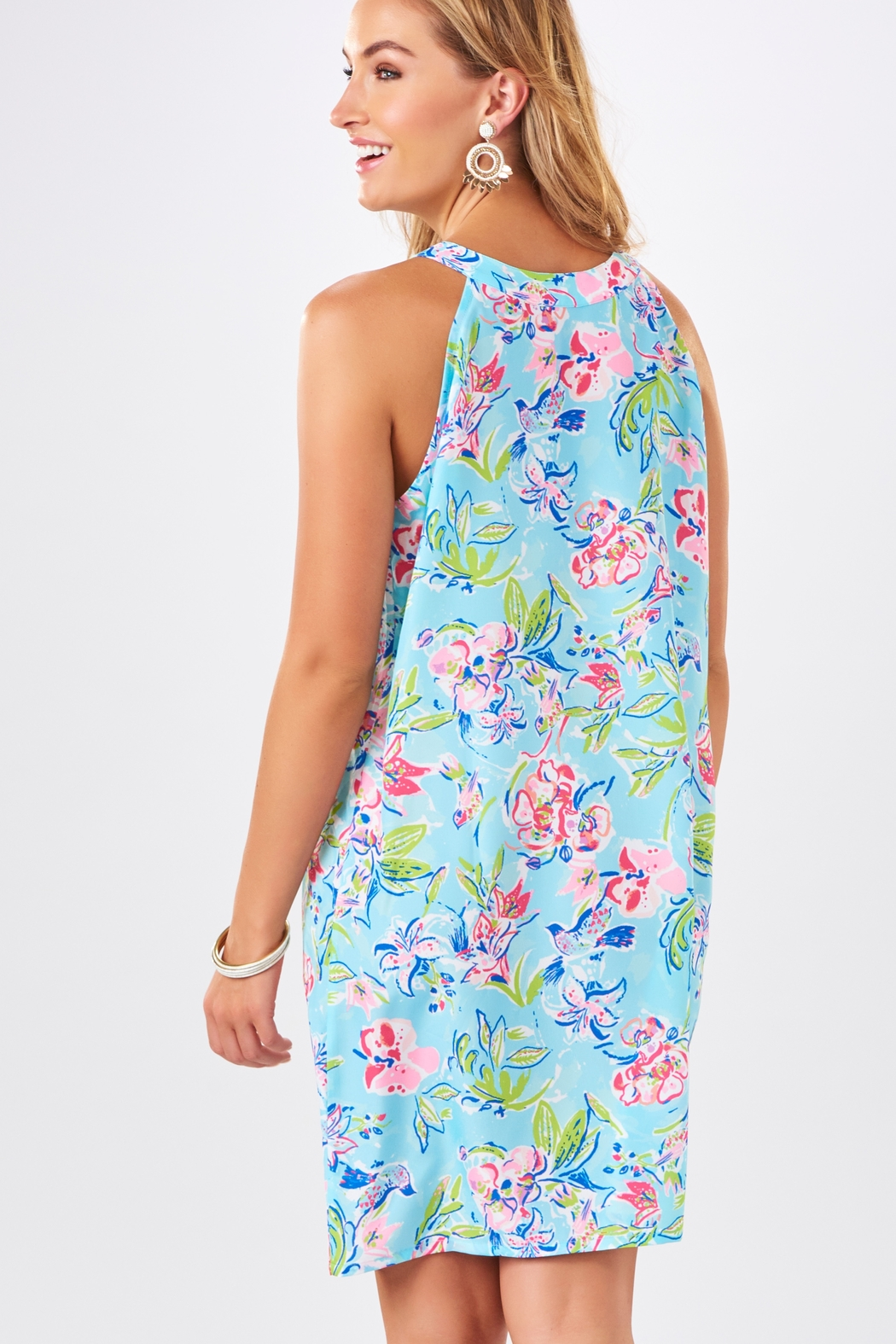 Charlie Paige Watercolor Print Shift Dress - Side Cropped Image
